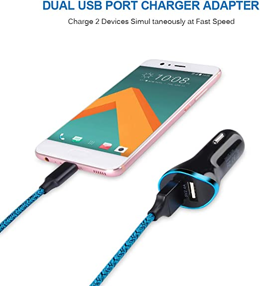 ANDHOT 2.4A Dual Port USB Car Charger Adapter USB Type C Cable 6Ft Fast Charging Power Cord Compatible LG Stylo 4, LG V40 ThinQ/G7/V35/V30/G6/G5, ...