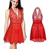 Coswe Moonight Women's Halter V-Neck Lace Top Lingerie Babydoll with G-String (2XL, Red)