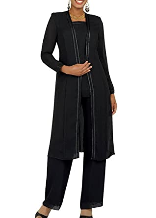 95eb5dff6f Kelaixiang Long Sleeves Mother of The Bride Pant Suits Plus Size 3 Pieces  Black US 2