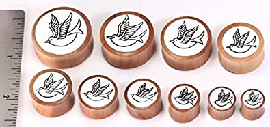Price Per 1 Saba Wood Double Flare Flying Sparrow Inlay Plug Wholesale Organic Jewelry 8mm-31mm