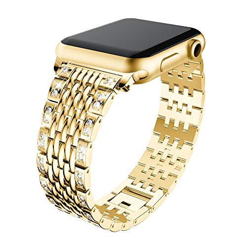Price comparison product image Compatible for Apple Watch Series 3 / 2 / 1 Metal Watch Band, Outsta Luxury Durable Metal Crystal Wristbands Strap Bracelet Replacement Wrist Strap 38mm / 42mm (Gold,  42mm for Apple Watch Series 1 / 2 / 3)