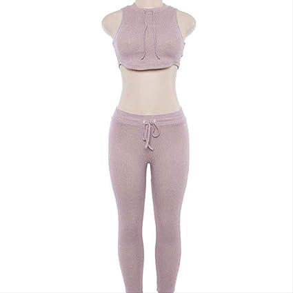 FECPD Women Yoga Set 2 Piece Gym Clothes Solid Vest Pants ...