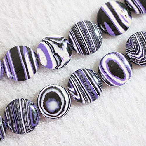 Calvas HOT Purple Stripes Calaite turquoises Stone 12mm 14mm 16mm 20mm Coin Shape Loose Beads DIY Jewelry 15