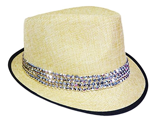 Fedora Rhinestone (4 Row Rhinestone Band on Natural Color Fedora Cap Headwear (Natural w/Black Trim Band))