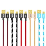 ICZI Micro USB Cable, Micro to USB 2.0 Cable (5 Pack x 3.3 ft) for Samsung Galaxy S7/S6/S5/Edge, Note 5/4/3, HTC, LG G3/G4 and More (5 Fashional Colors)