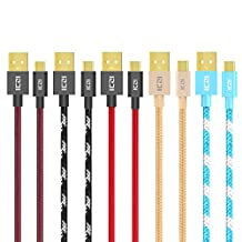 ICZI Micro USB Cable, Micro to USB 2.0 Cable ( 5 Pack x 3.3 ft ) for Samsung Galaxy S7/S6/S5/Edge, Note 5/4/3, HTC, LG G3/G4 and More ( 5 Fashional Colors )