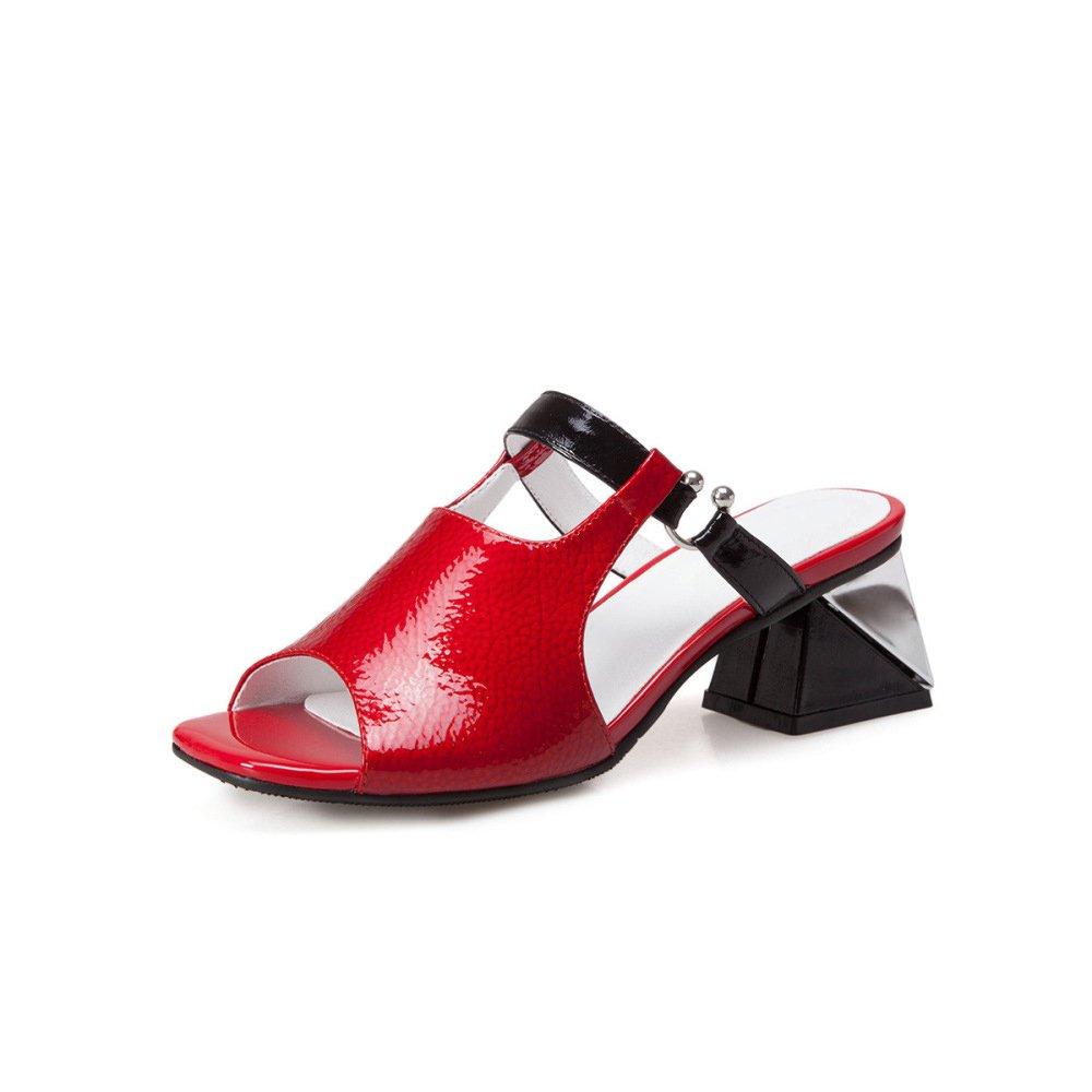 Leder, Fisch Mund, Grobe Ferse Sandalen, Sommer, Offene Zehe, Hausschuhe Damenschuhe (mit Houml;he: 5cm)  36 EU|Rot