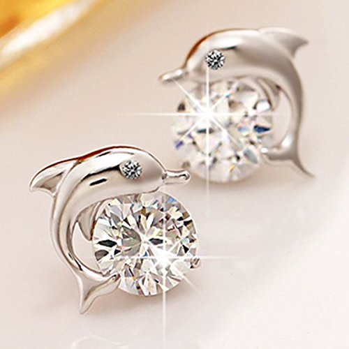 (Jiamusi Lovely Crystal Eye Dolphin Stud Earrings Women's 925 Sterling Silver Jewelry Multi-Color one Size )