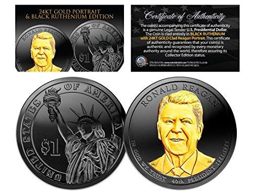 Black Ruthenium 2016 RONALD REAGAN Presidential Dollar Coin w/ 24K Gold (P Mint) (Dollars Presidential Golden)