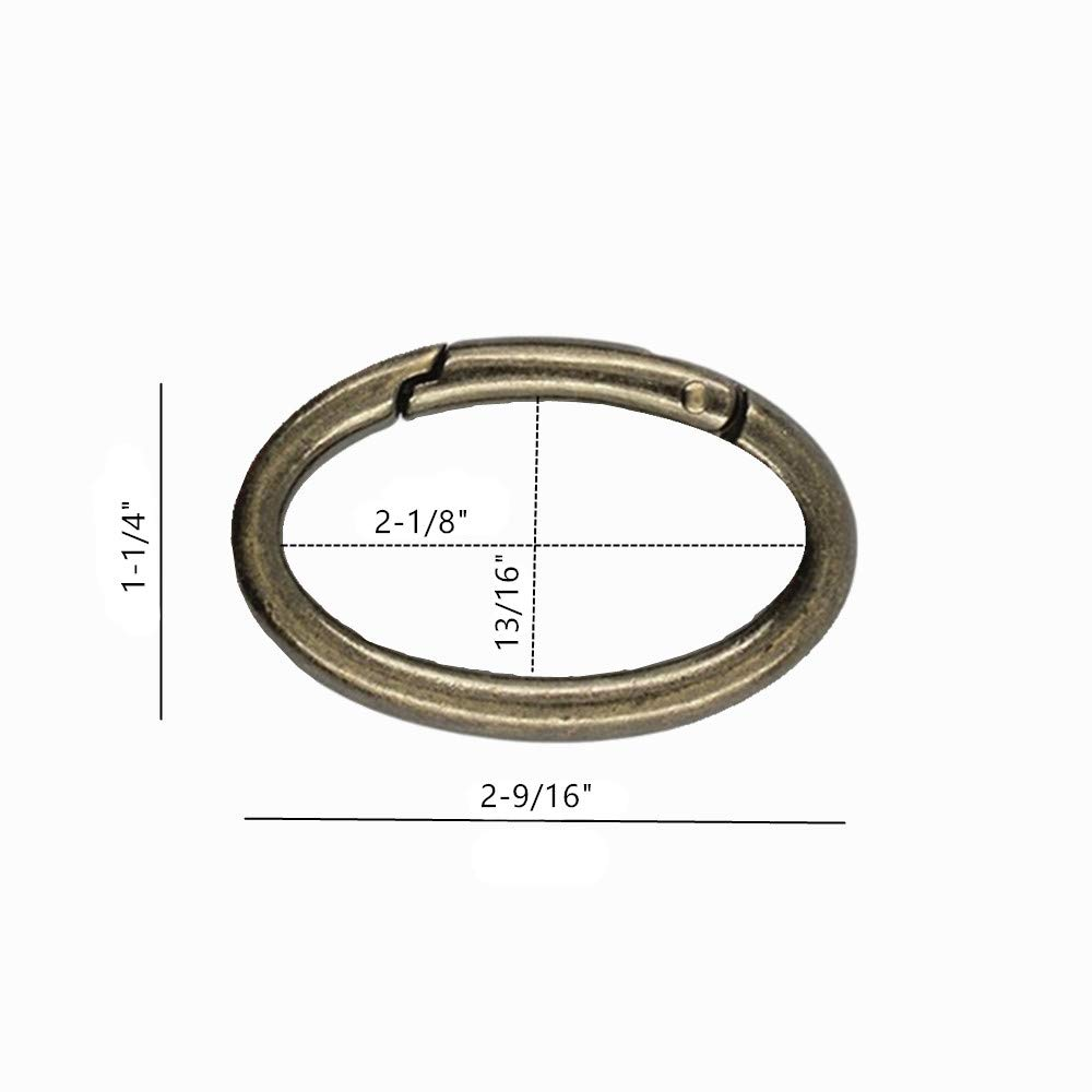 Organizing Accessory//Metal Secure Holder//Durable and Rust-Proof Gold WEICHUAN 10PCS Zinc Alloy Oval Spring Clip Carabiner Gate Oval Ring Carabiner Snap Clip Trigger Spring Keyring Buckle