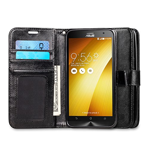Asus Zenfone 2 Case, J&D [Stand View] Asus Zenfone 2 Wallet Case [Slim Fit] [Stand Feature] Premium Protective Case Wallet Leather Case for Zenfone 2 (5.5
