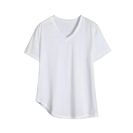 Camiseta de manga corta con cuello en v para mujer, Ba Zha Hei Mujer Casual Camiseta Manga Corta Suelto T-Shirt Tops manga corta blusa mujer ropa color pure ...