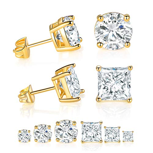 DwearBeauty Yellow Gold Plated Cubic Zirconia Stud Earrings 6-Pairs Pack ... ()