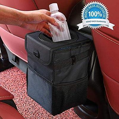 Winzwon Auto Mülleimer, IP68 Wasserdicht Abfalltasche, Faltbar Abfalltasche Auto Tasche mit Deckel, Zusammenfaltbare…