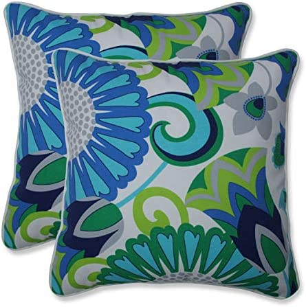 Pillow Perfect Outdoor Indoor Sophia Throw Pillow, 16.5 x 16.5 , Turquoise Green, 2 Pack