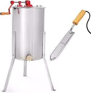 XtremepowerUS 2-Frame Honey Extractor Stainless Steel w/Electric Uncapping Knife
