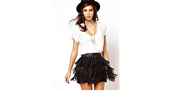 2f6135724cd Amazon.com : HJL-Vancoog Women's 3 Layer tassels PU Mini Skirt, black-xxl,  black-xxl : Sports & Outdoors