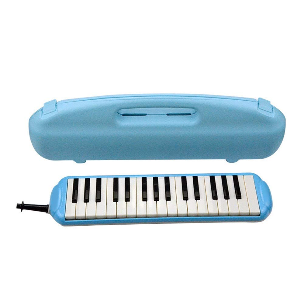 Melodica Musical Instrument Durable Educational Kids 32 Keys Portable Pianica Melodica Musical Instrument With Carrying Bag Gift Toys For Music Lovers Beginners Mouthpieces Tube Sets Blue for Music Lo