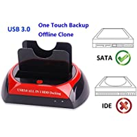 Ronsen 876U Hard Disk Drive Docking Station - Multifunctional USB 3.0 Dual Port for 2.5/3.5 SATA I/II HDD SSD with Clone Function