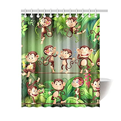 Silly Meow Custom Shower Curtains Monkeys Curtain Bath Printed Waterproof Fabric Polyester 60x72