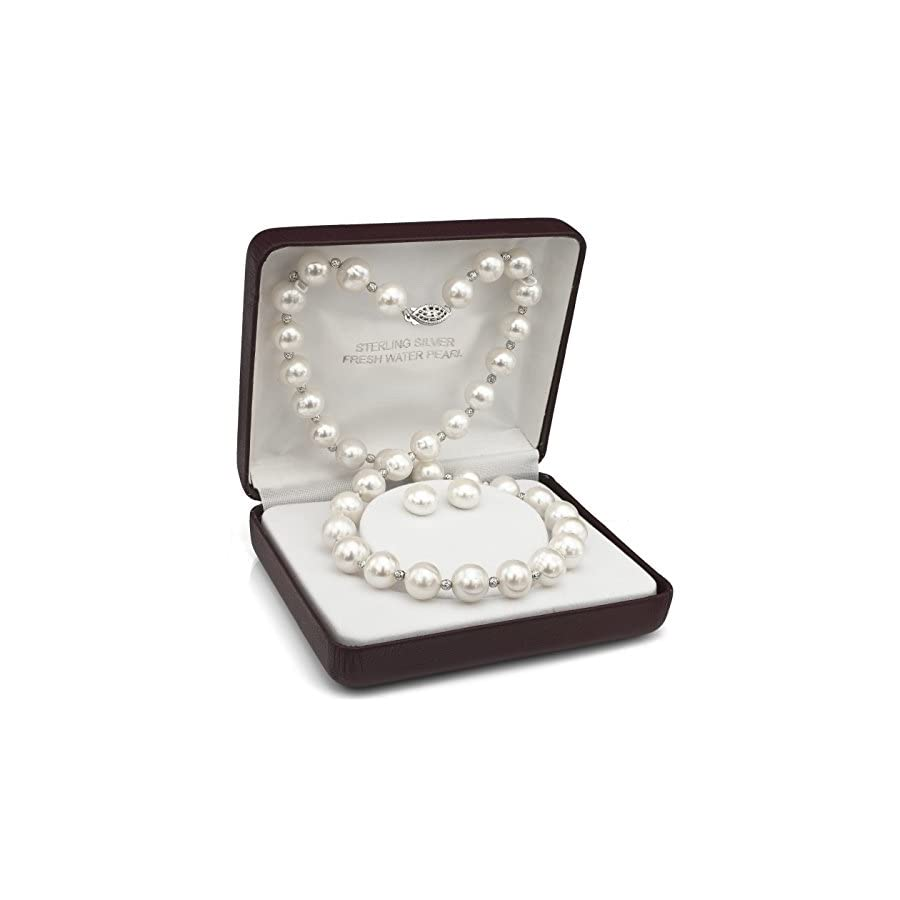 Sterling Silver 10 10.5mm White Freshwater Cultured Pearl Necklace and Stud Earrings Set, 18""