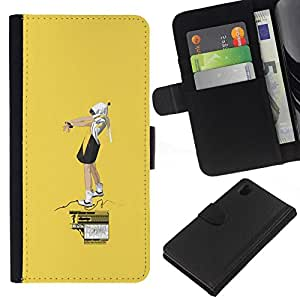 NEECELL GIFT forCITY // Billetera de cuero Caso Cubierta de protección Carcasa / Leather Wallet Case for Sony Xperia Z1 L39 // Amarillo Street Art