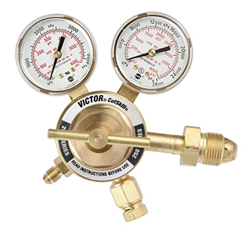 Victor Technologies 0781-9134 TPR-250-200-580-CS Light Duty Purging Cylinder Nitrogen/Argon/Helium Regulator, 10-250 psig Delivery Pressure Range, 200 psig Outlet -