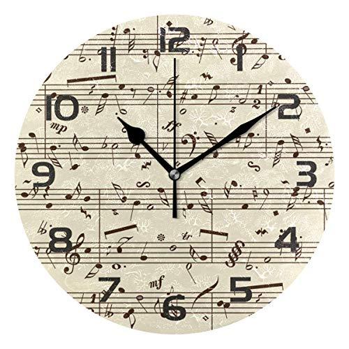 Dozili Music Notes Decorative Wooden Round Wall Clock Arabic