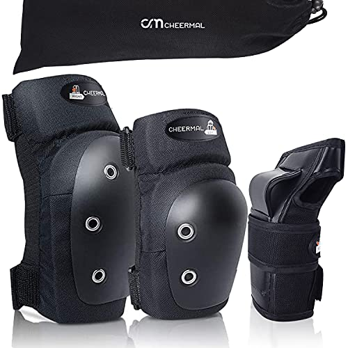 Cheermal Kids/Adults Knee and Elbow Pads with Wrist Guards - 6 in 1 Protective Gear Set for Skateboard,Roller Skates,Cycling,BMX Bike,Skiing,Scooter and Other Riding Sports.