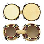 World Rhythm BON14 Oak Bongos – 6 and 7 Inch Heads in Natural and Red, Ideal Bongo Drums for School Percussion