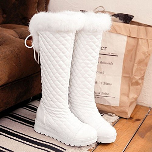 1501White Warm Boots Women's TAOFFEN Lined 0ZzIzw