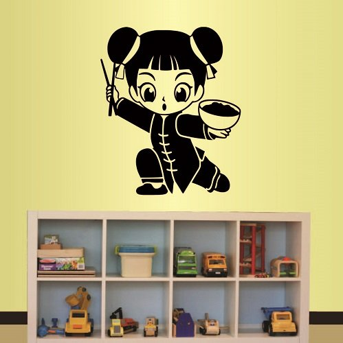 Wall Vinyl Decal Home Decor Art Sticker Cute Cartoon Asian Girl Kids Bedroom Nursery Room Removable Stylish Mural Unique Design ()