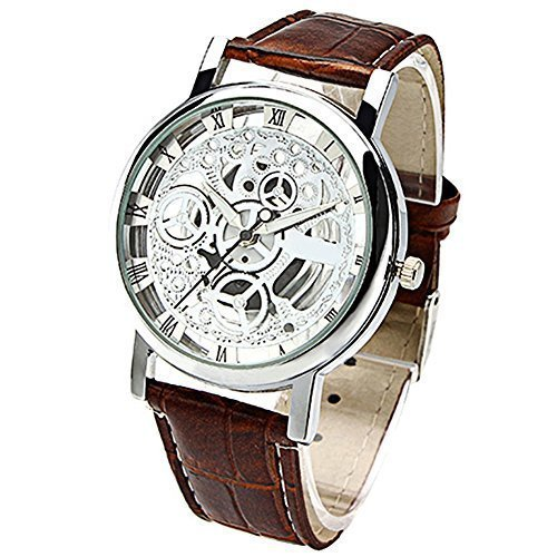 Women's Brown Roman Classic Synthetic Leather Strap Watch - 1
