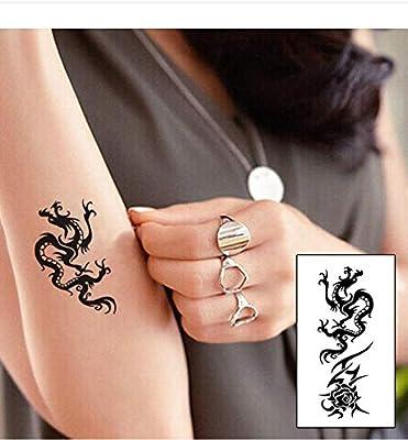 LFVGUIOP Tatuajes temporales -Dragón Negro tótem Marca Moda ...