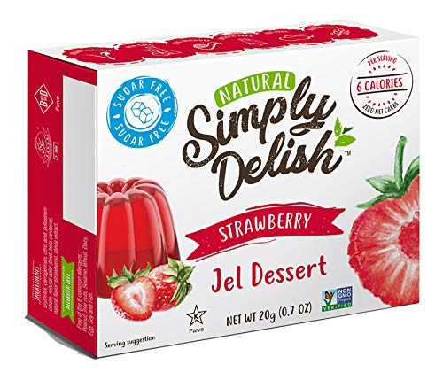 Simply Delish Natural Strawberry Jel Dessert - Sugar Free, Non GMO, Gluten Free, Fat Free, Vegan, Keto Friendly - 0.7 OZ (Pack of 3)