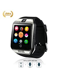 Bluetooth Fitness Tracker Anti-lost Smart Watch Q18,Prevent sweat ,Health tracking,Wearable Equipment with Camera TF/SIM Card Slot for Android and iso Phones (silver)
