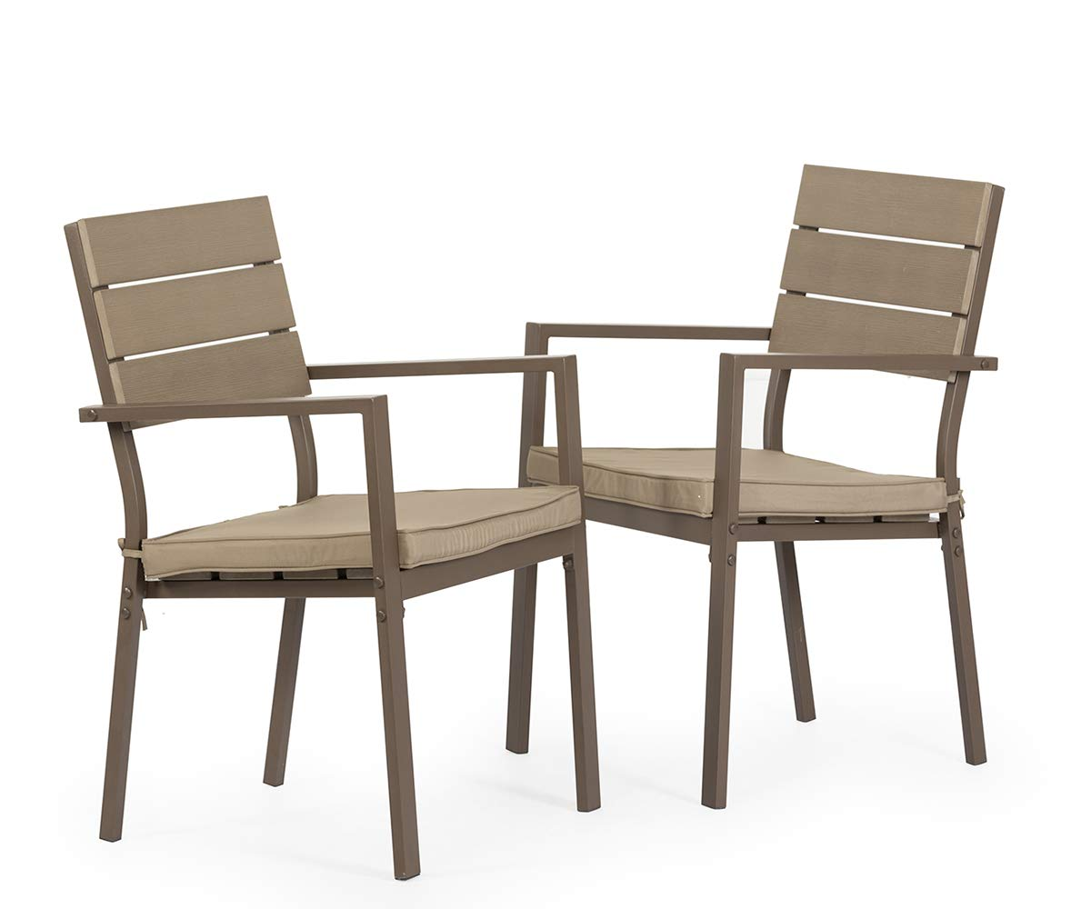 Solaura 2 Piece Dining Side Chair - Steel Powder Coated Frame Patio Chair & Neutral Beige Cushions
