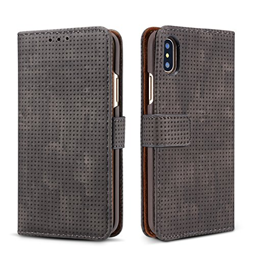 iPhone X Wallet Retro Case,TACOO Breathable Grid Solid Black Color Leather Protective Magnetic Closure Flip Kickstand Credit Card Money Slot Cover for Apple iPhone 10