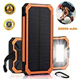 Solar Charger Battery Bank Solar Phone Charger 20000mah Solar USB Charger LED Light Solar Power Bank Portable Solar Power Bank Waterproof Solar Phone Charger Battery Pack Solar Phone Charger Orange