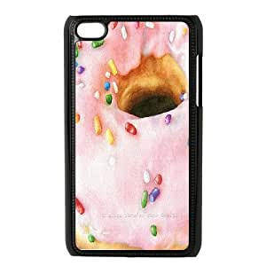 Cases for Ipod Touch 4, Pink Watercolor of a Doughnut Cases for Ipod Touch 4, Doah Black