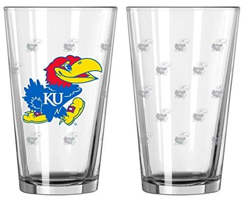 Kansas Jayhawks Satin Etch Pint Glass Set
