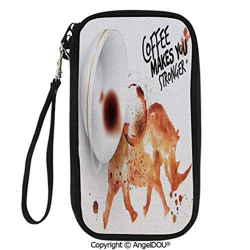 (PUTIEN New Fashion Card Holder Wallets Wild Rhino Animal from Spilled Hot Beverage Stain Latte Cappuccino Decorative for Men Women Travel Business.)