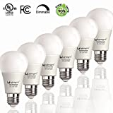 120v ac 6500k - LightingWill A19 Dimmable LED Light Bulb UL-Listed CRI80+ Warm White 2700K 800LM 9W(60Watt Equivalent) Ultra Bright Decorative Light Bulb E26 Screw Base Pack of 6