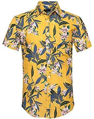 Men's Flower Print Casual Button Up Short Sleeve Shirt Hawaiian Shirts