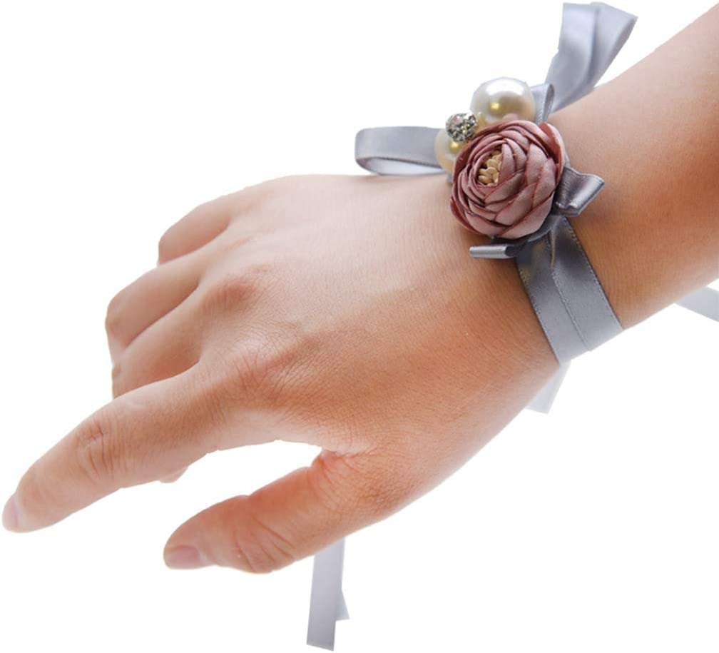 planuuik Boda Novia Dama de Honor Té-Rosa Flor Artificial Ramillete de muñeca Estambre Falso Imitación Perla Cinta de Pulsera para Fiesta de graduación