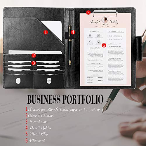 Portfolio Padfolio Case, Skycase Business Portfolio Folder, Resume/Conference/Legal Document Organizer with Letter/A4 Size Clipboard, Business Card Holders, Document Sleeve, Black Photo #8