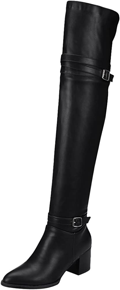 Pointed-Toe Chunky Heel Tall Boots