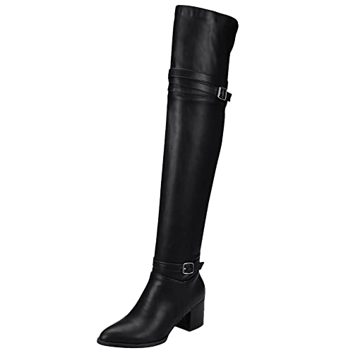 62cfb50e6ea Amazon.com | Latasa Women's Pointed-Toe Chunky Heel Tall Boots ...