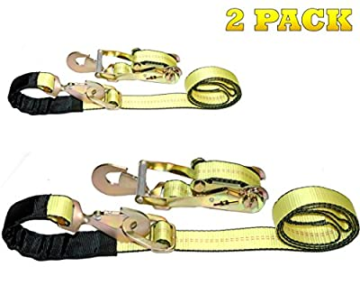 "DKG-097 2"" x 8' Axle Strap Ratchet Tie Down with Snap Hook -Extreme Strength Ratcheting Tension Car Carrier Straps – Car Hauler Trailer Snap Hook Ratchet (2 Pack)"