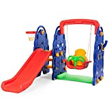 Costzon Toddler Climber and Swing Set, Junior Basketball Hoop Playset for Both Indoors & Backyard (4-in-1 Slide & Swing Set)